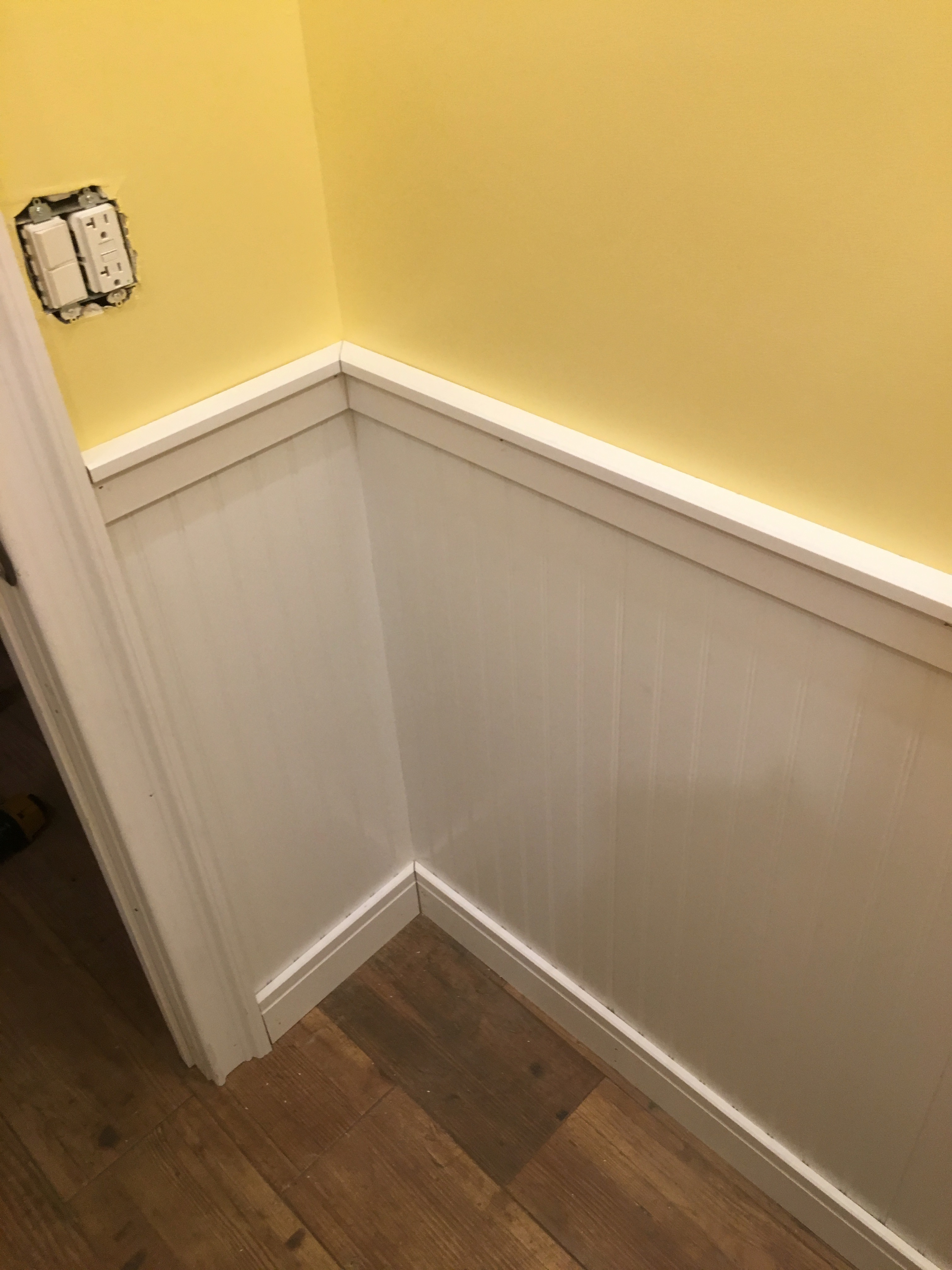 Half Bathroom And Wainscoting Victorian Home Renovation